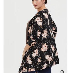 EUC Super Soft Black Floral Fit + Flare Cardigan